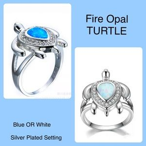 Fire Opal TURTLE Blue Or White Silver Plated Ring